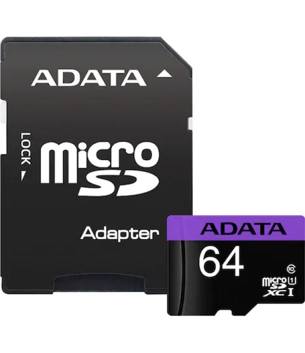 Card de memorie ADATA Premier, MicroSDXC, 64GB, UH...