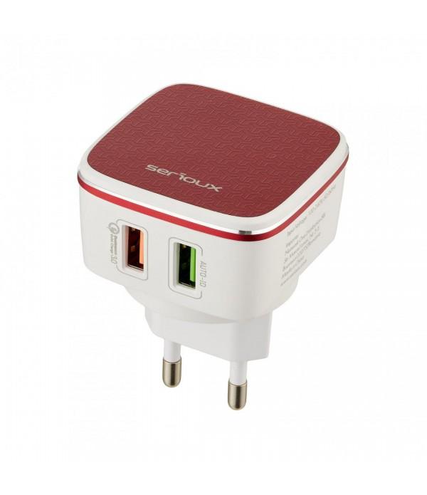 Incarcator QC01 Serioux, Fast Charge, 2 porturi USB, Alb/Rosu