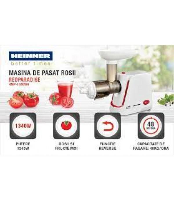 Masina de pasat rosii Heinner RedParadise HMP-1340WH, 1340W, rosii/fructe moi, functie reverse, capacitate de pasare: 48kg/h, Alb
