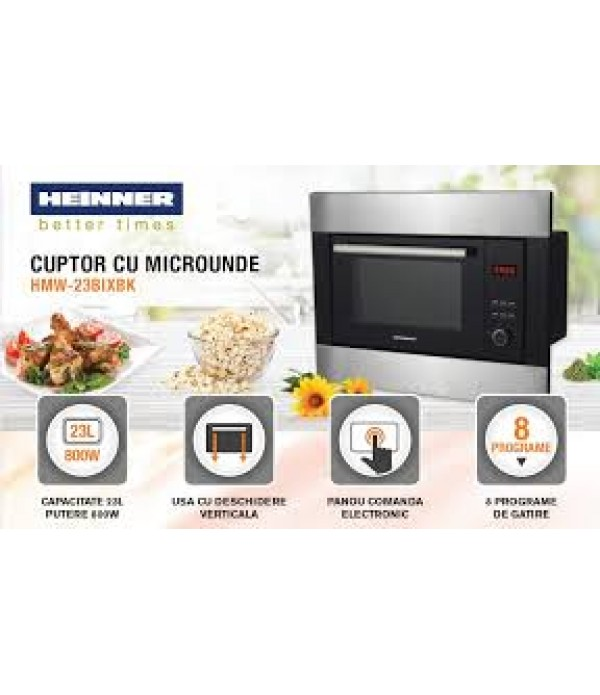 Cuptor cu microunde incorporabil Heinner HMW-23BIXBK, 23 L, 800 W, Grill, Digital, Negru/ Inox