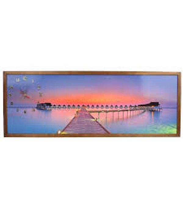 Tablou cu ceas Heinner Home inramat, 35x100 cm, Sunset